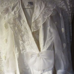 Vintage Sheer  bow beaded blouse size 8